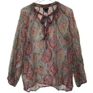 Lucky Brand Sheer Long Sleeve Tunic Size Large